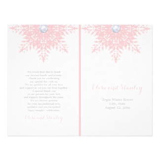 Modern snowflake pink, white wedding program 21.5 cm x 28 cm flyer