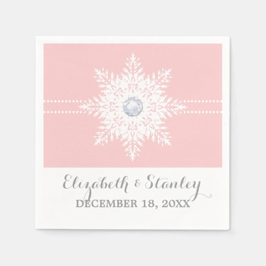 Modern snowflake pink, white winter wedding disposable serviettes