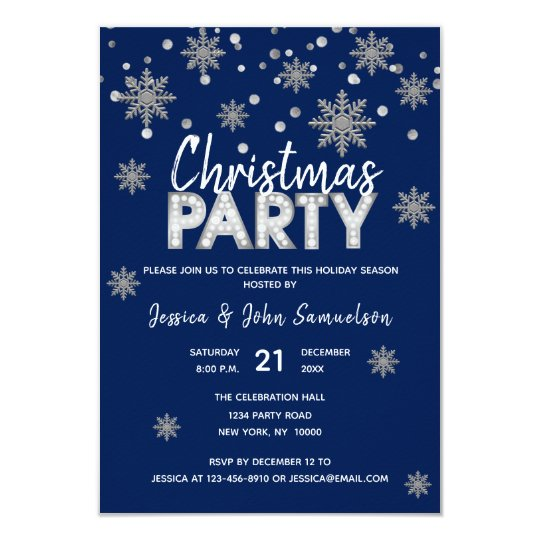 Modern Snowflakes Navy Blue Silver CHRISTMAS PARTY Card