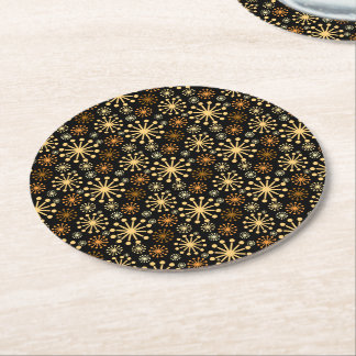 Modern Snowflakes Pattern Golden and Black Round Paper Coaster