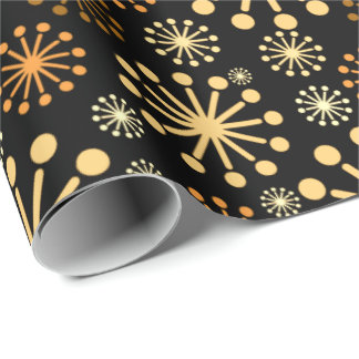 Modern Snowflakes Pattern Golden and Black Wrapping Paper