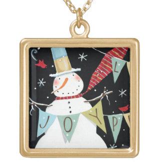 Modern Snowmen Love, Joy, Peace Gold Plated Necklace