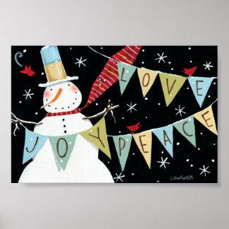Modern Snowmen Love, Joy, Peace Poster