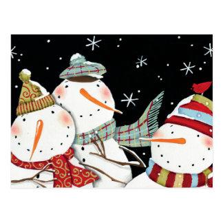 Modern Snowmen Smiles Postcard