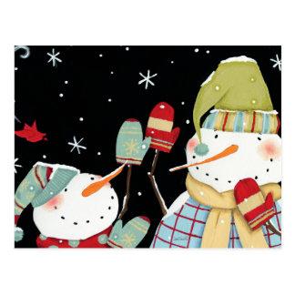 Modern Snowmen with Mittens Postcard