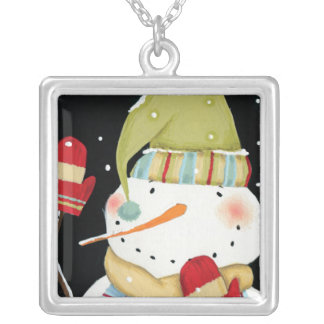 Modern Snowmen with Mittens Silver Plated Necklace