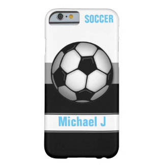 Modern Soccer Ball Blue personalised iPhone 6 Case Barely There iPhone 6 Case