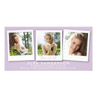 Modern Soft Purple 3 Photo Graduation Announcement Photo Greeting Card