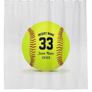 Modern Softball Team Shower Curtain