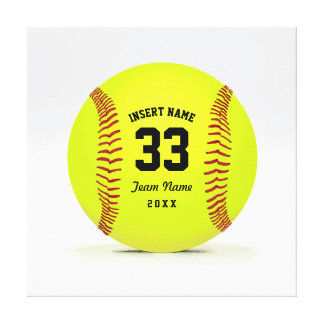 Modern Softball Yellow Red and Black Custom Stretched Canvas Prints