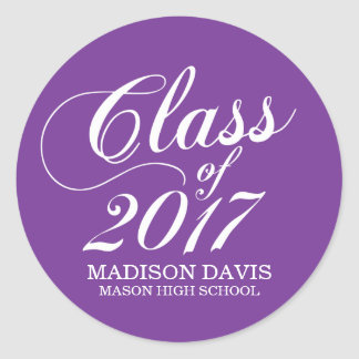 Modern Solid Purple | Graduation Stickers