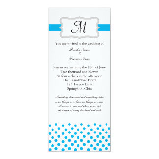 Modern Something Blue 10 Cm X 24 Cm Invitation Card