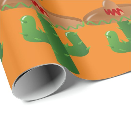 Modern Southwest Theme Western Sombrero Green Wrapping Paper