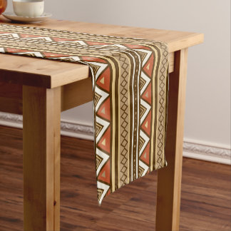 Modern Southwestern Geometric, Brown, Tan & Rust Short Table Runner