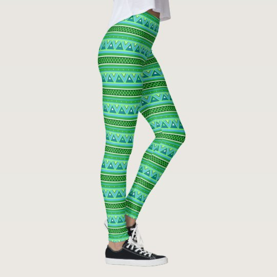Modern Southwestern Geometric, Green and Aqua Leggings