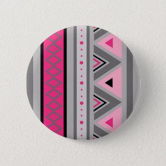 Modern Southwestern Geometric, Pink and Gray 6 Cm Round Badge
