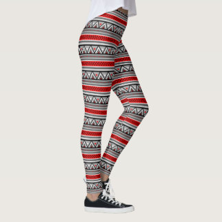 Modern Southwestern Geometric, Red & Gray / Grey Leggings