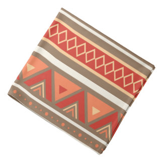 Modern Southwestern Geometric, Taupe & Orange Bandana