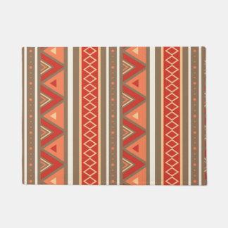 Modern Southwestern Geometric, Taupe & Orange Doormat