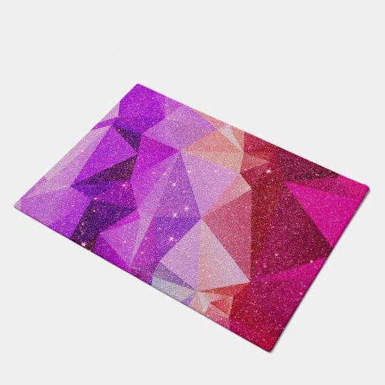 Modern Sparkly Faux Glitter Geometric Triangles Doormat