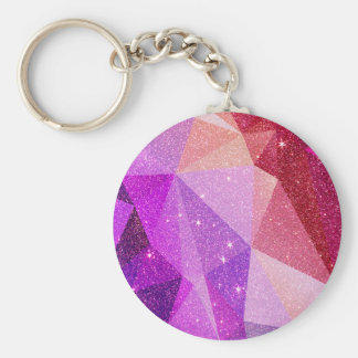 Modern Sparkly Faux Glitter Geometric Triangles Key Ring