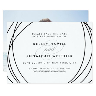 Modern Spheres | Optional Back Photo Save the Date Card