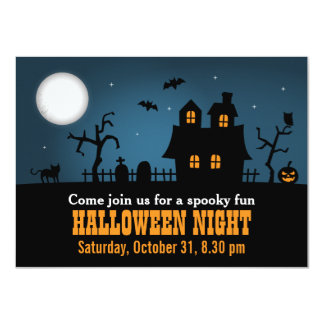 Modern Spooky Haunted House Halloween Party Card