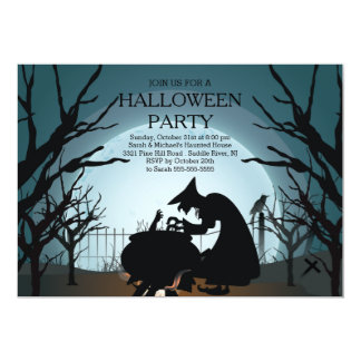 Modern Spooky Witch Halloween Party Invitation
