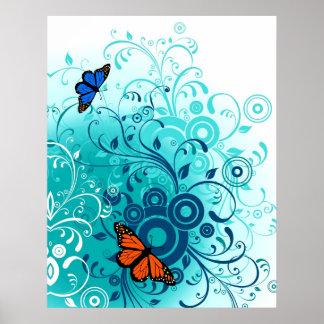 Modern Spring Blue Floral Swirls Poster