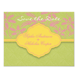 Modern spring damask flower save the date card 11 cm x 14 cm invitation card