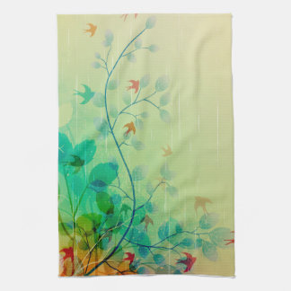 Modern Spring Floral Abstract Art Tea Towel