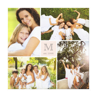 Modern Square Family Monogram Photo Collage Canvas Gallery Wrapped Canvas