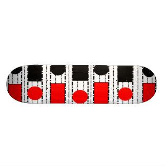 Modern Square in Black & Red Skateboard