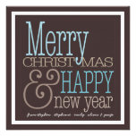 Modern Square Merry Christmas New Year Photo Card Personalised Invites