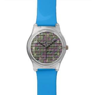 Modern square multicolored pattern watch