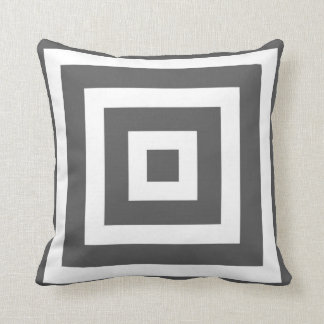 Modern Square Pattern in Charcoal Grey and White Cushion