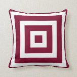 Modern Square Pattern in Cranberry and White Cushion