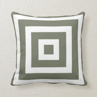 Modern Square Pattern in Olive Green and White Cushion