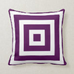 Modern Square Pattern in Plum and White Cushion