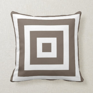 Modern Square Pattern in Taupe and White Cushion