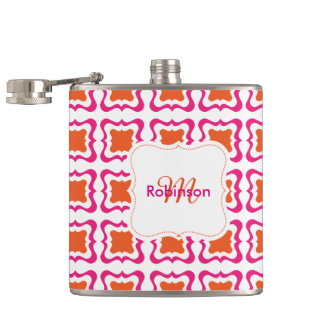 Modern Square Repeat Pattern Hot Pink Orange White Hip Flask