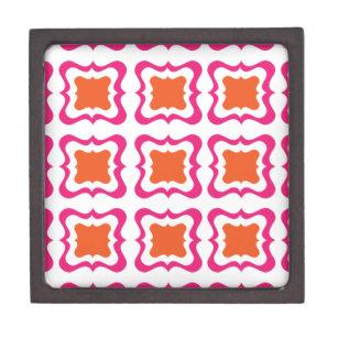 Modern Square Repeat Pattern Hot Pink Orange White Keepsake Box