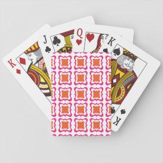 Modern Square Repeat Pattern Hot Pink Orange White Playing Cards