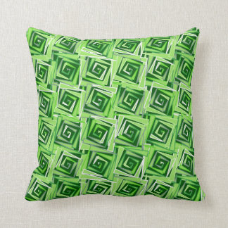 Modern Square Spirals, Jade Green Cushion