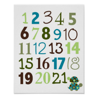 Modern Stacked Turtle Number Nursery Wall Art