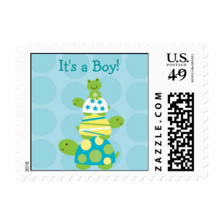 Modern Stacked Turtle Personalized Postage Stamps
