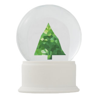 Modern Stained Glass Holiday Christmas Tree Snow Globe