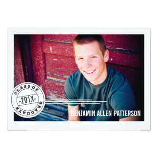 Modern Stamp Photo Graduation Party Announcement