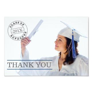 Modern Stamp Photo Graduation Thank You | Blue 9 Cm X 13 Cm Invitation Card