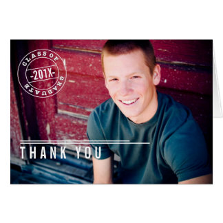 Modern Stamp Photo Graduation Thank You Card